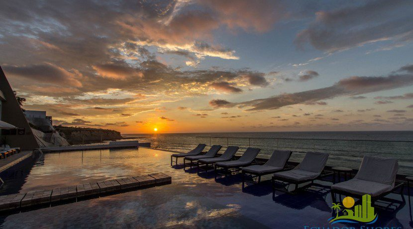 Poseidon Manta Ecuador pool at sunset